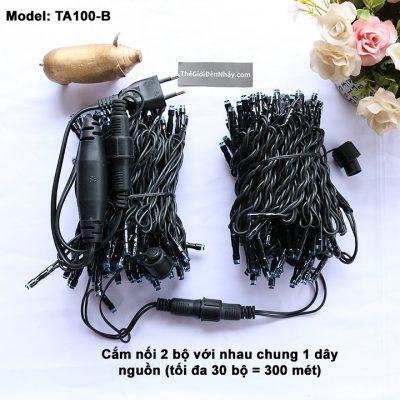2 bộ đèn nháy dây đen cắm nối nhau