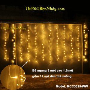 đèn led mành rèm màu vàng