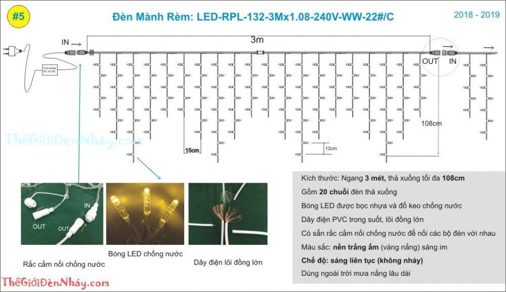 cấu trúc của bộ đèn rèm 3m