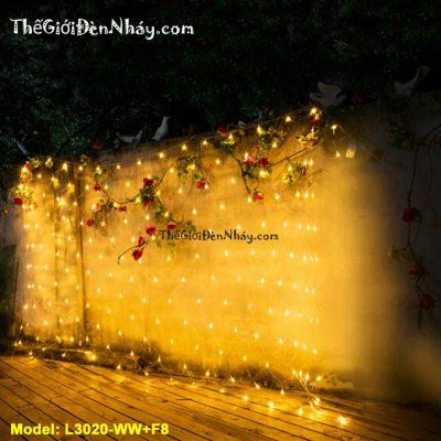 Lưới đèn led treo theo bức tường