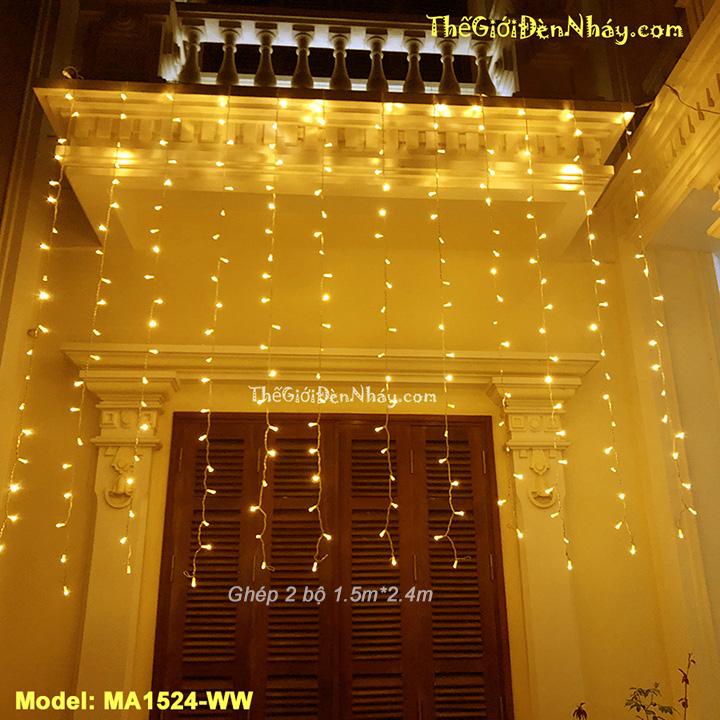 đèn led thả mành màu vàng treo cửa sổ