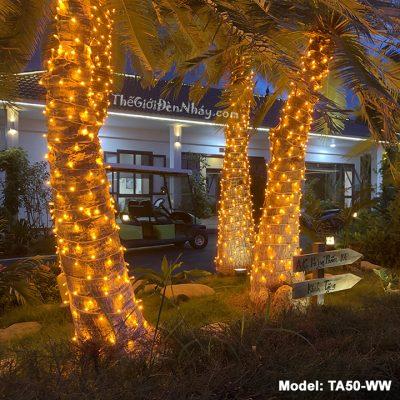 đèn led quấn cây màu vàng